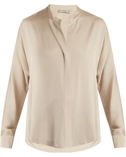 High-neck Silk-blend Satin Shirt