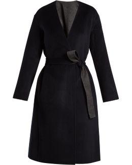 Reversible Tie-waist Wool-blend Coat