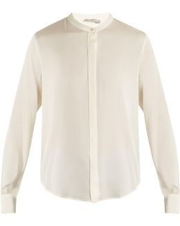 Long-sleeved Silk-blend Satin Shirt