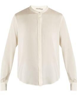Long-sleeved Silk-blend Satin Shirt
