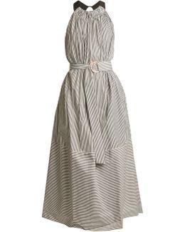 Ruffled Halterneck Striped Cotton Dress