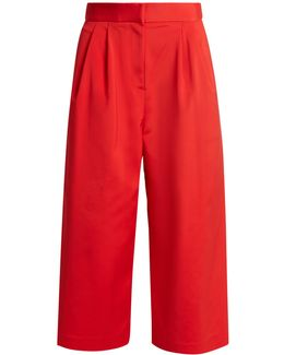Wide-leg Faille Cropped Trousers