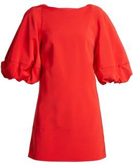 Balloon-sleeved Faille Mini Dress