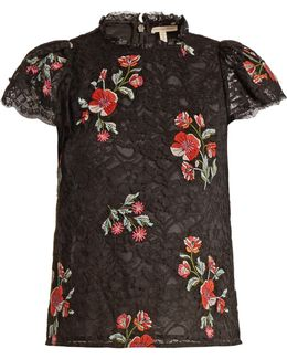 Floral-embroidered Guipure-lace Top