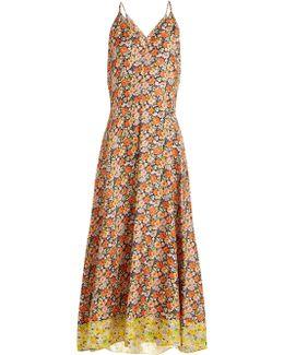 Moonlight Garden Floral-print Silk Dress