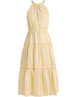 Striped Halterneck Tiered-skirt Woven Dress