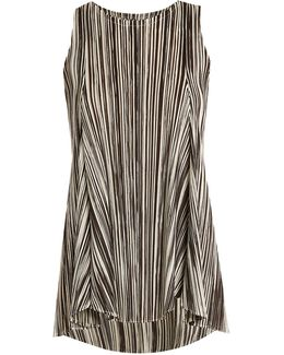 Striped Pleated Sleeveless Top