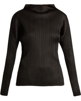 Pleated High-neck Long Sleeved Top