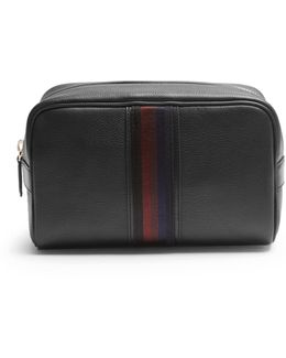 Web-panel Grained-leather Washbag