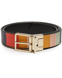 Grained-leather Reversible Belt
