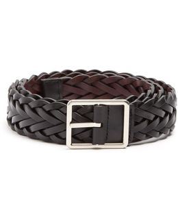 Plaited Reversible Leather Belt