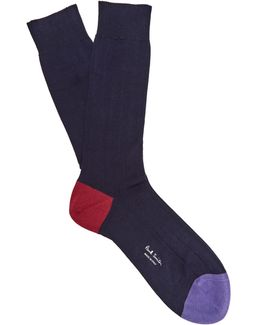 Ribbed-knit Cotton-blend Socks
