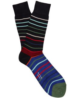 Echo-striped Cotton-blend Socks