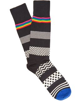 Polka-dot And Striped Cotton-blend Socks