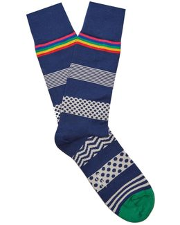 Polka-dot Striped Cotton-blend Socks