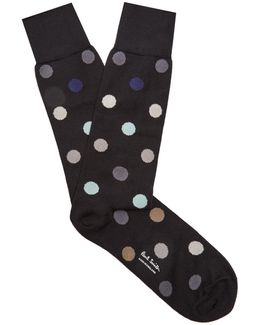 Polka-dot Cotton-blend Socks