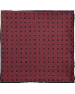 Contrast-panel Polka-dot Silk Pocket Square