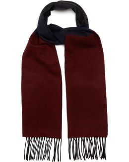 Striped Fringed Cashmere Scarf