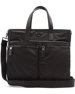 Leather-trimmed Nylon Tote