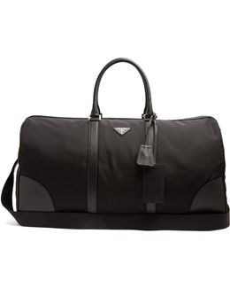 Boston Leather-trimmed Nylon Holdall