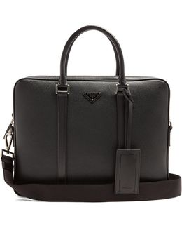 Logo-plaque Grained-leather Briefcase