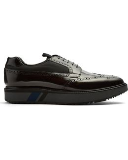 Raised-sole Leather Brogues