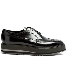 Stacked-sole Leather Brogues