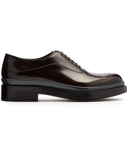 Raised-sole Leather Oxford Shoes