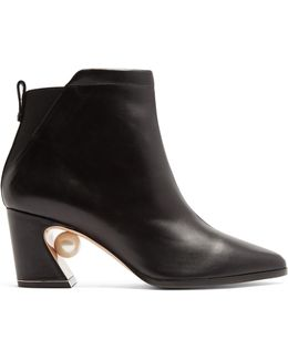 Tilda Pearl-heeled Leather Ankle Boots