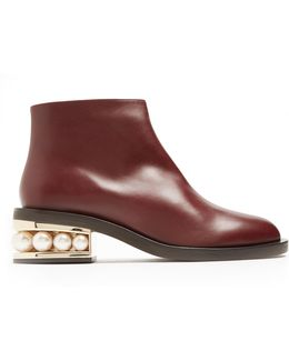 Casati Pearl-heel Leather Ankle Boots
