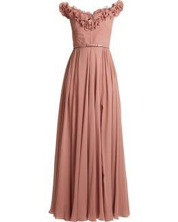 Ruffle-trimmed Silk-georgette Gown