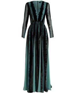 V-neck Velvet-devoré Gown