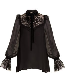 Velvet-embroidered Lace-insert Georgette Blouse