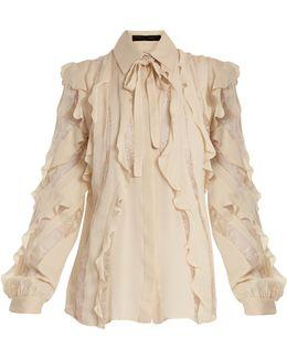 Lace-insert Ruffled Silk-blend Shirt