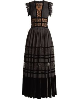 Lace-insert Pleated-georgette Gown