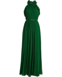 Gathered Halterneck Silk-georgette Gown