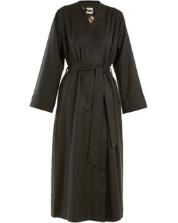 Luna Embroidered Wool-flannel Robe