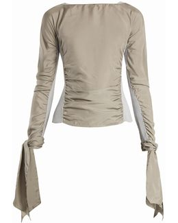 Contrast-panel Ruched Crepe De Chine Top