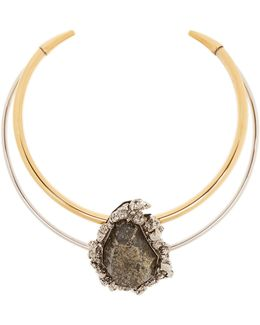 Pyrite-embellished Double-hoop Choker