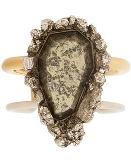 Pyrite-embellished Double-ring Cuff