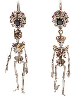 Crystal-embellished Skeleton Earrings