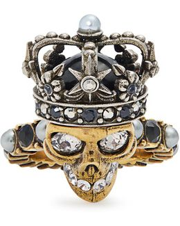 King Skull Crystal And Pearl-embellished Ring