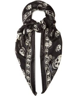 Skull-print Silk-chiffon Scarf