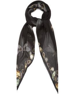 Dragonfly-print Silk-chiffon Scarf