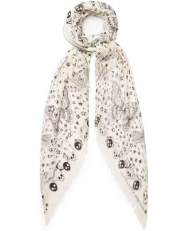 Party Skull-print Silk-blend Scarf
