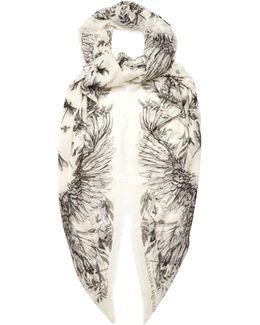 Floral Dragonfly-print Silk-blend Scarf