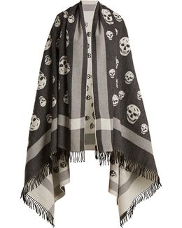 Skull Wool And Cashmere-blend Wrap