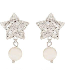 Crystal-star Sterling-silver Earrings