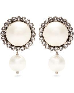 Faux-pearl Clip-on Drop Earrings