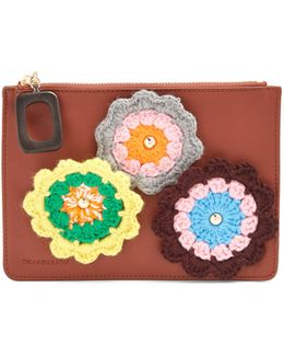Daisies-crochet Leather Pouch